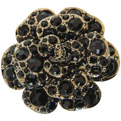 Unusual Chanel Camellia Brooch Pin with Black Crystals 12A Collection