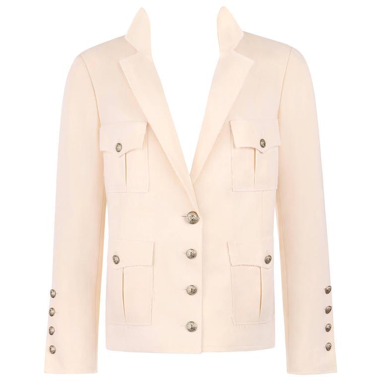CHANEL S/S 2007 Creme Wool Blend Raw Edge Detail Four Pocket Blazer Jacket