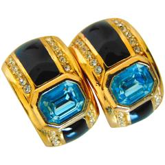 Christian Dior Art Deco Earrings with Faux Sapphire Topaz Crystals 1980s