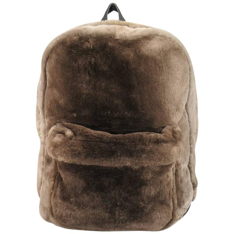 MARC JACOBS Bag - Taupe Brown Beaver Fur & Leather Backpack - Retail $2,250.00
