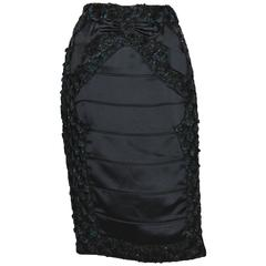 New Tom Ford for Yves Saint Laurent F/W 2004 Beaded Feather Embellished Skirt 38