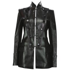 Tom Ford for Yves Saint Laurent F/W 2001 Leather Military Jacket It 38