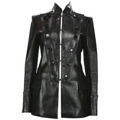 Tom Ford for Yves Saint Laurent F/W 2001 Leather Military Jacket Fr.38