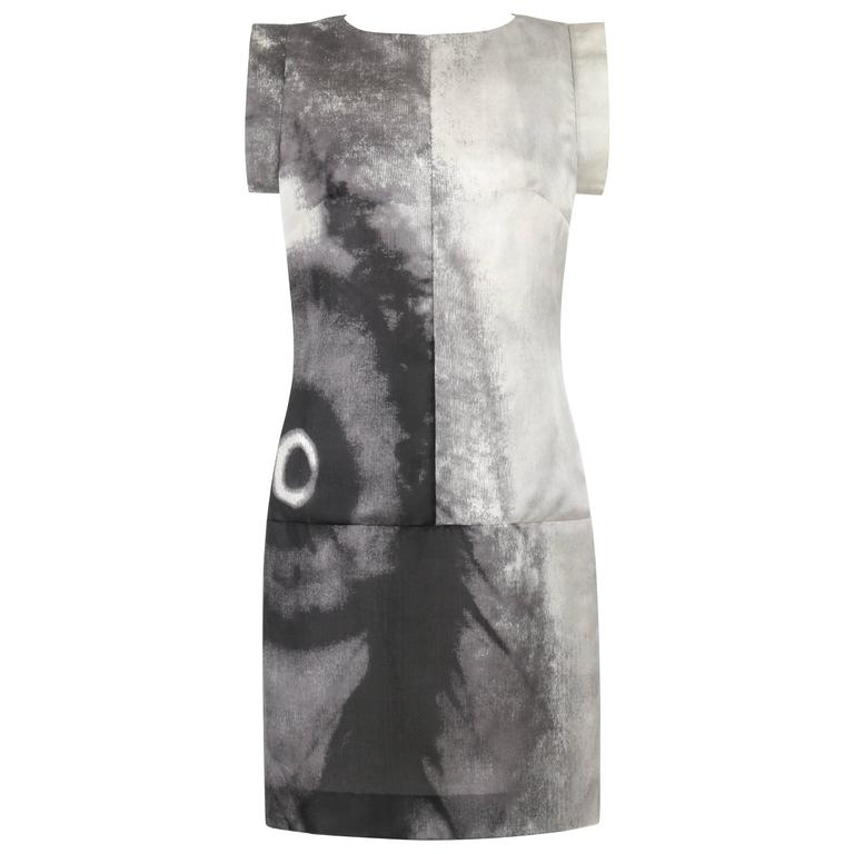 GIVENCHY Couture S/S 1999 ALEXANDER McQUEEN Black White Abstract Eye Print Dress