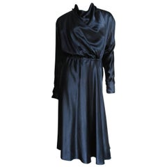 1970s Halston Silk Drape Front Wrap Dress