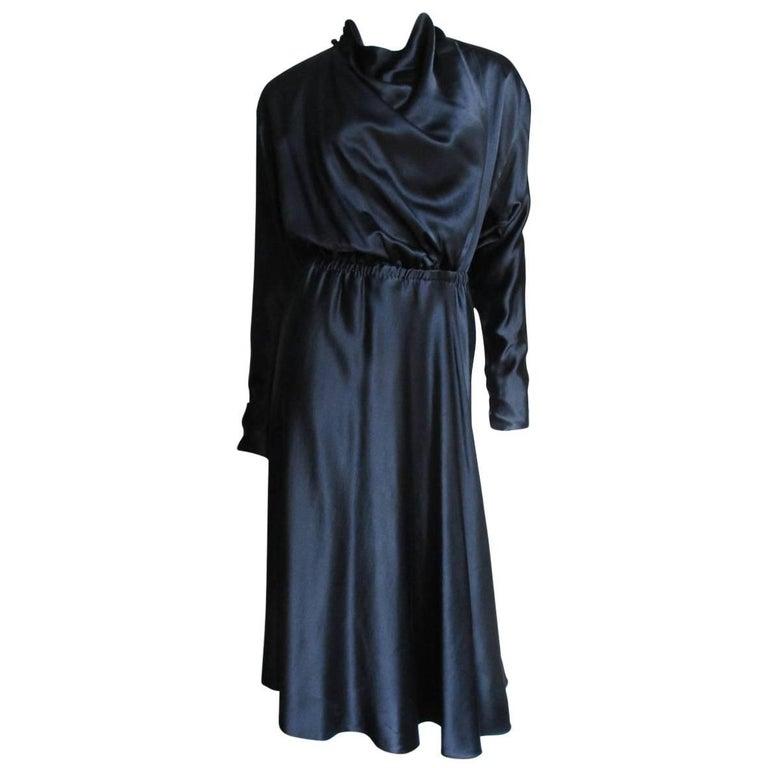 1970s Halston Silk Drape Front Wrap Dress