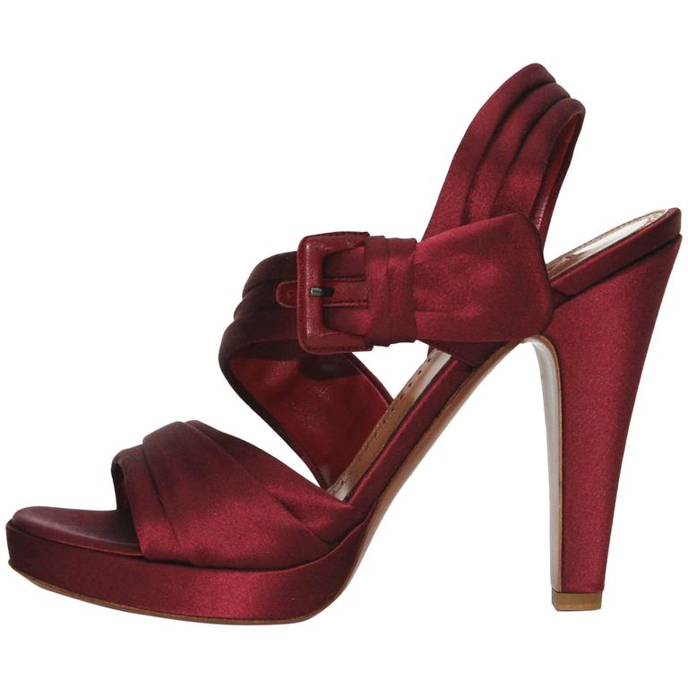 NEW AZZEDINE ALAIA DEEP BURGUNDY SATIN PLATFORM SANDALS SHOES It. 39.5 - US 9.5