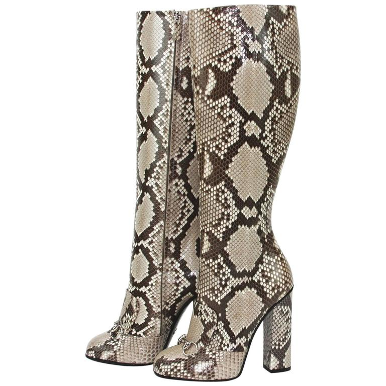 New GUCCI Campaign $3500 Python Horsebit High Boots Beige Brown It 37 - US 37.5 For Sale
