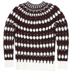 New $2100 Gucci Rich Embellished Rhinestone Metal Wool Sweater size S