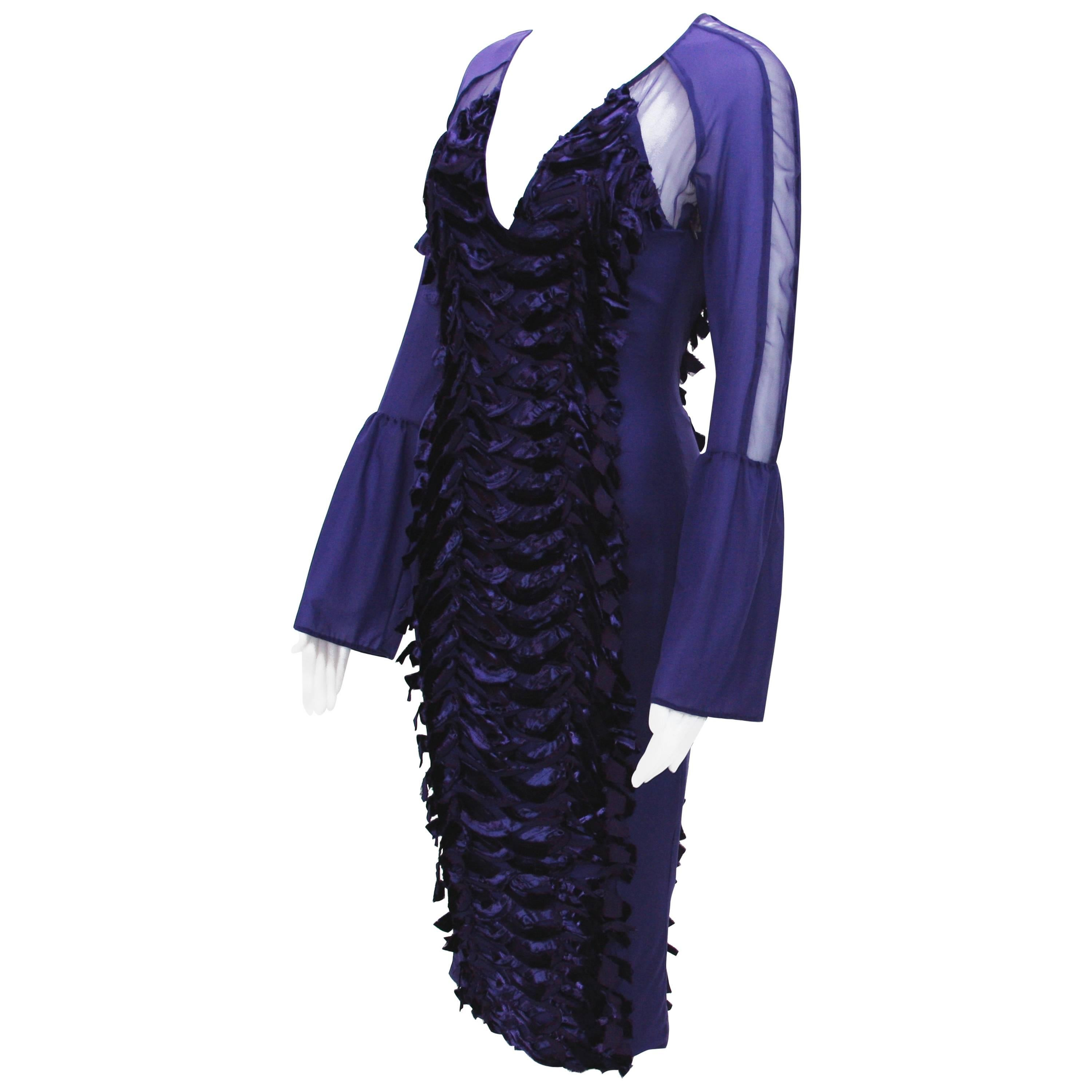TOM FORD for GUCCI F/W 2004 COLLECTION PURPLE VELVET STRETCH DRESS 40 - 4