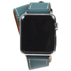 Hermes Blue Stainless Steel Leather Double Tour Apple Watch