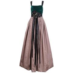 Marc Jacobs Evening Gown W/Green Velvet Bodice, Taffeta Skirt & Rosette Sash