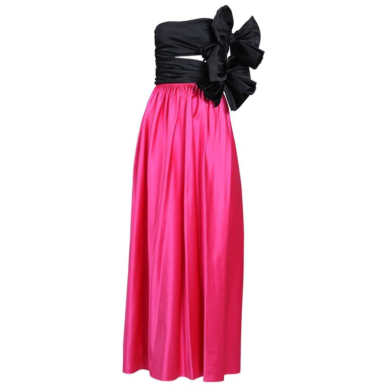 1979 Lanvin Haute Couture Pink & Black Satin Strapless Evening Gown No. 90724