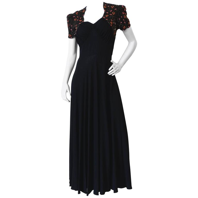 1940s Black Glads Beaded Gown  For Sale
