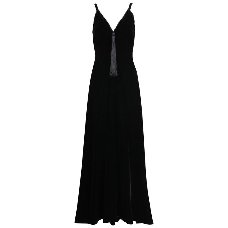 Givenchy Haute Couture Black Silk Velvet Evening Gown and Matching Cape No 59129