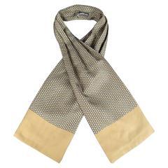 Vintage HERMES Taupe & Navy Interlock Star Pattern Silk Ascot
