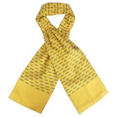 Vintage HERMES Yellow Gold & Gray Bird Print Silk Ascot