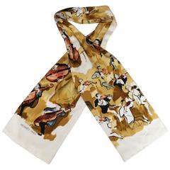 Vintage HERMES Brown & Cream Concerto Painting Print Silk Ascot