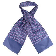 Vintage HERMES Navy Blue & Red Symbol Print Silk Ascot