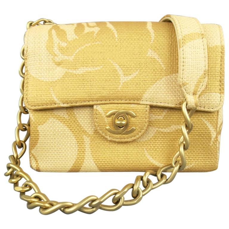 CHANEL Metallic Gold & Beige Floral Straw Chain Strap Handbag