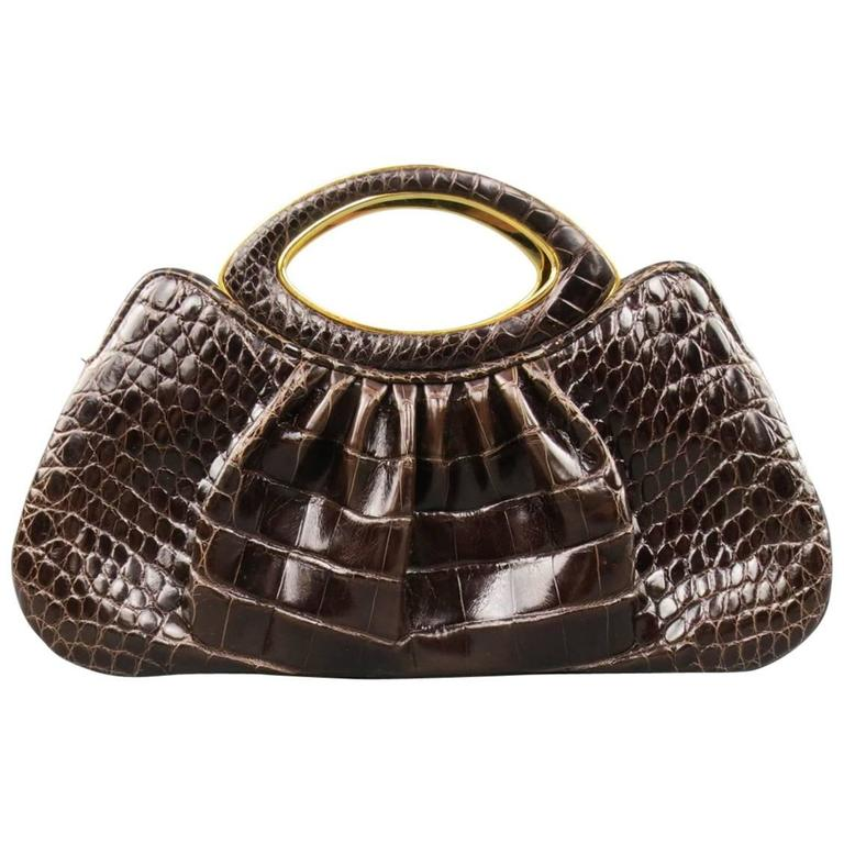 JUDITH LEIBER Handbag - Brown & Gold Alligator Leather Evening