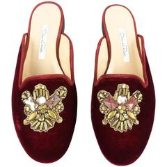 OSCAR DE LA RENTA Size 11 Burgundy Velvet Antiqued Crystal Slip On Flats