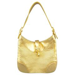 RALPH LAUREN Collection Metallic Gold Woven Leather Lock Shoulder Handbag