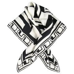 EMILIO PUCCI Black & White Geometric Print Silk Scarf