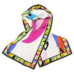 EMILIO PUCCI Multi-Color Geometric Print Silk Sash Scarf