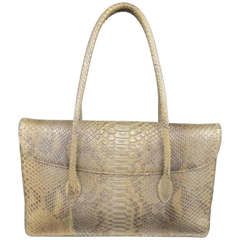 ALAIA Beige Snakeskin Top Handles Shoulder Handbag 1