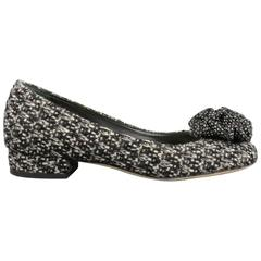 CHANEL Size 7.5 Black & White Tweed Camelia Flower Chunky Heel Pumps