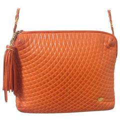 Vintage BALLY orange quilted lamb golden chain shoulder purse with fringes.