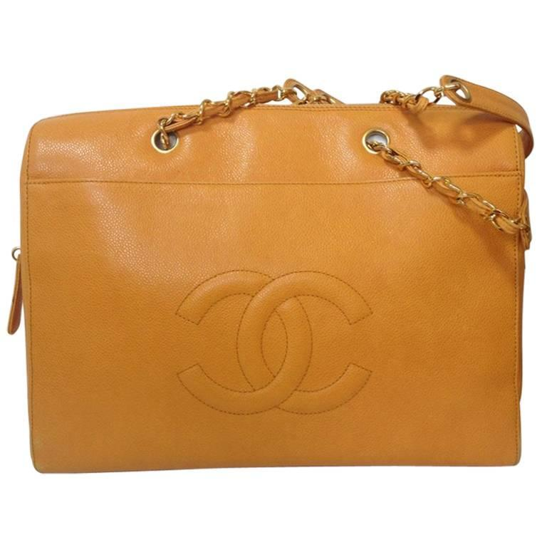 Vintage CHANEL orange yellow caviar leather chain shoulder large tote bag. 1