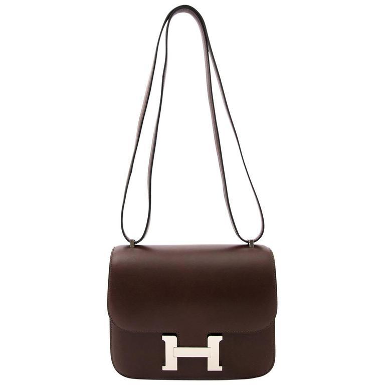 Brand New Hermès Constance Mini Moka Butler Leather