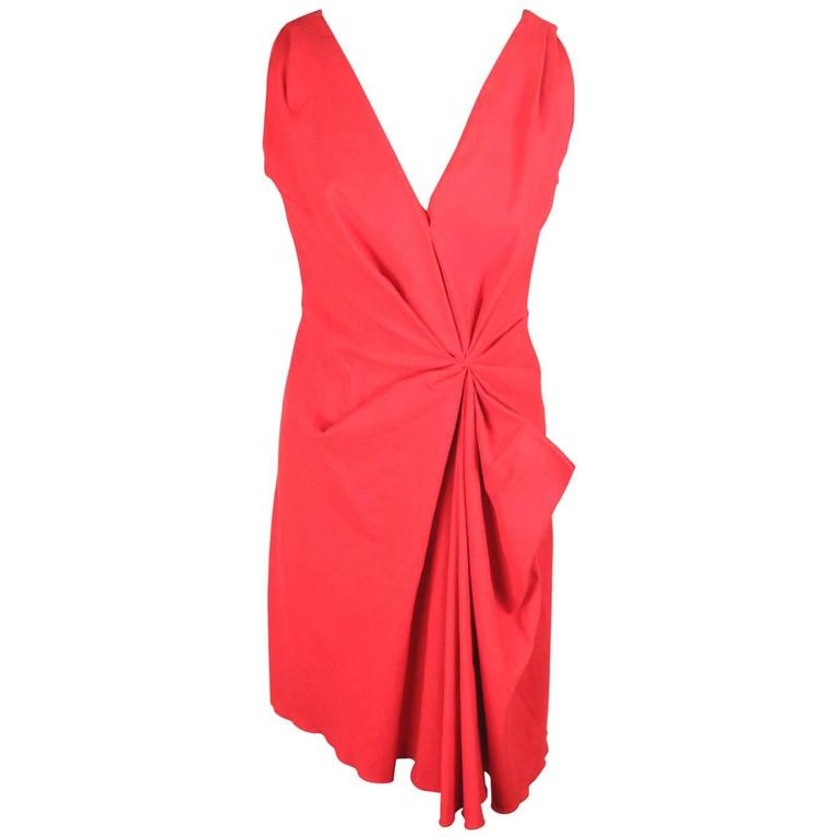 LANVIN Red Linen Blend V NECK DRESS Sleeveless SIZE 38