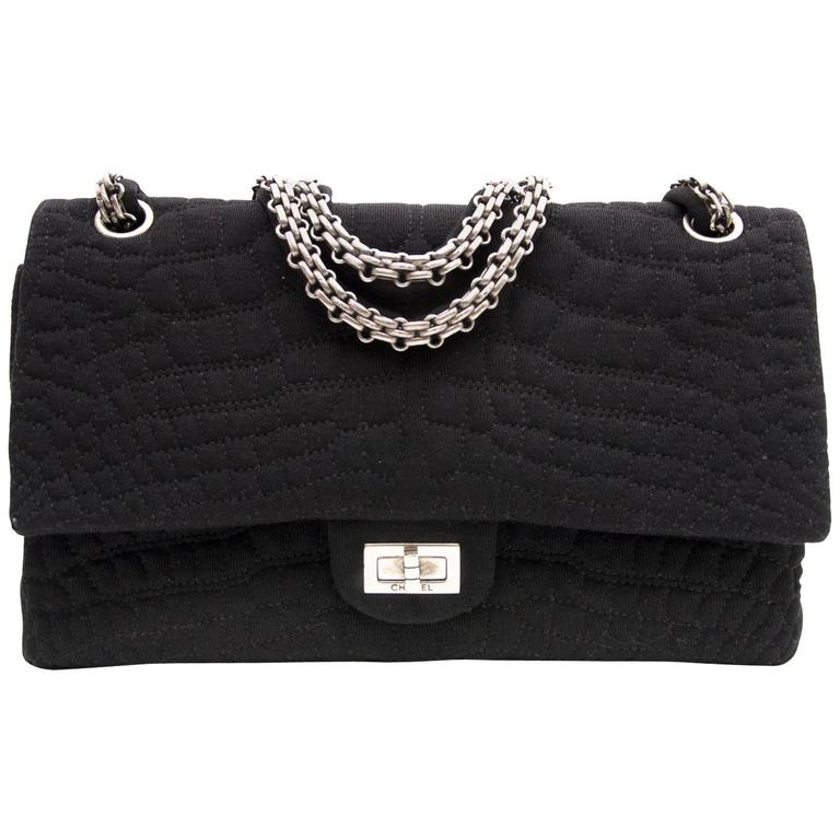 0bcfa7a2e035 Chanel Large 2.55 Black Fabric Bag For Sale at 1stdibs