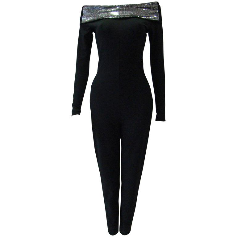 Very Rare Paco Rabanne Stretch Off Shoulder Jumpsuit 1970's For Sale
