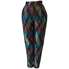 Rare Gianni Versace Couture Quilted Silk Harlequin Printed Pants Fall 1990