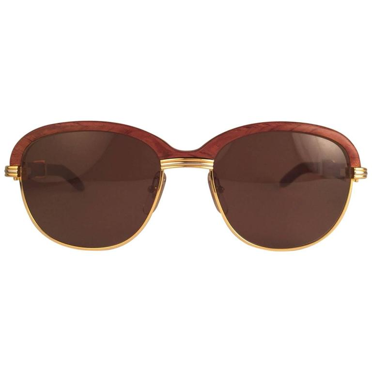 New Cartier Wood Malmaison Precious Wood Palisander and Gold 54mm Sunglasses  1