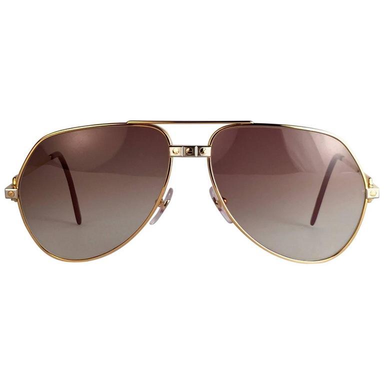 81f2de8c13 New Cartier Santos Screws 1983 59mm 18K Heavy Plated Sunglasses France For  Sale
