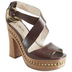 Miu Miu Brown Leather Strappy Sandal with Wood Chunky Heel - 41