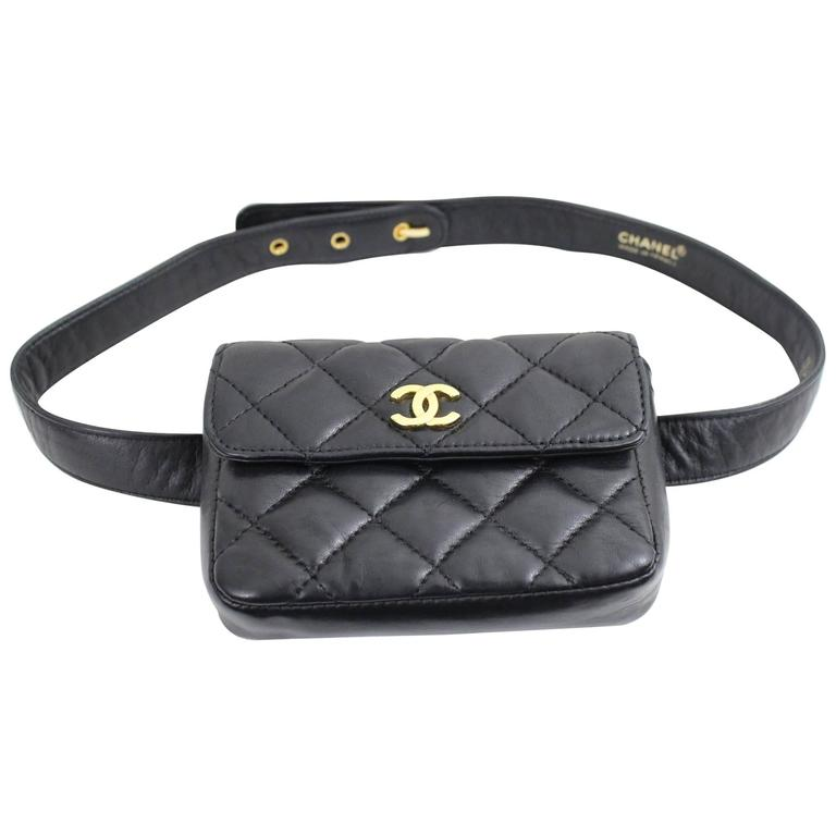 3fac86eebf0f Vintage Chanel Belt Bag in Black Lambskin Leather at 1stdibs