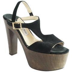 Jimmy Choo Black Suede Platform Wood Heels - 40