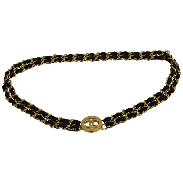 Vintage Chanel  Golden metal and Black Leather Chain Belt