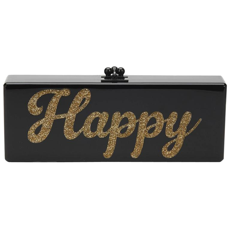 Edie Parker Black Glittered Acrylic Happy Box Clutch, 2010s