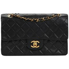 Chanel Black Quilted Lambskin Vintage Small Classic Double Flap Bag, 1980s