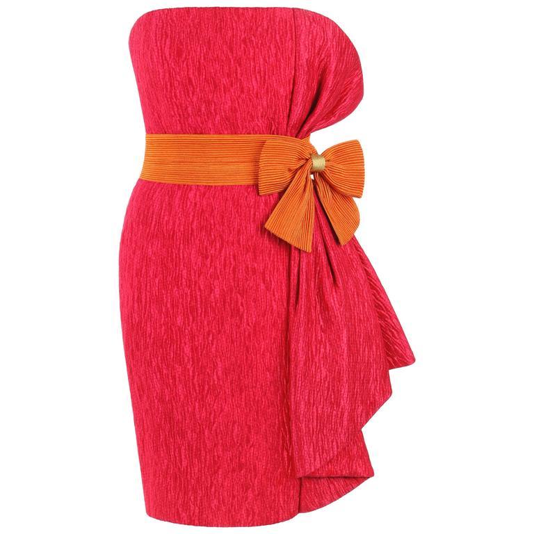 PIERRE BALMAIN c.1980's Bright Pink Silk Strapless Orange Belted Cocktail Dress