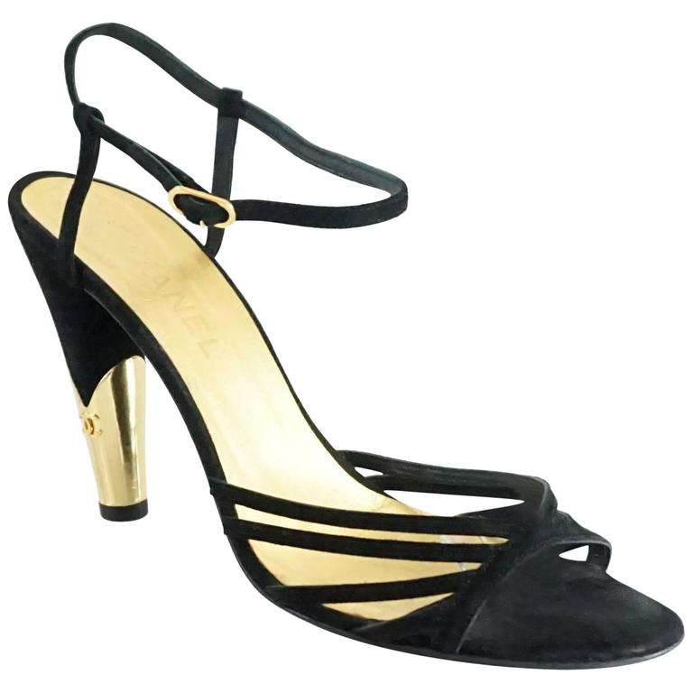 Chanel Black Suede Ankle Strap Heels - 40.5 For Sale