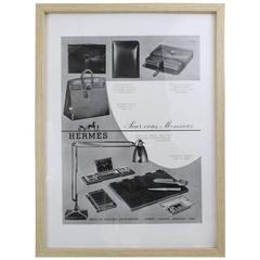 "Vintage Rare Hermes Ad Printing ""For you Gentleman"" with Frame"