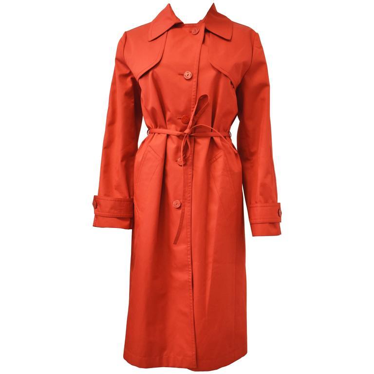 Yves Saint Laurent Rive Gauche Red Vintage Trench Coat 1